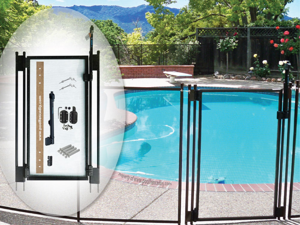 2 5 Ft W X 4 Ft H Pool Fence Diy Gate In Black With Self Closing Self Latching Hardware Flat Top Pool Fence Diy